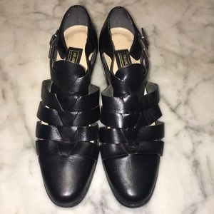 Franco Fortini Lark Black Leather Ladies Sandals